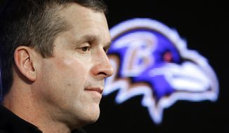 Baltimore Ravens head coach John Harbaugh speaks at an NFL football news conference, Tuesday, Jan. 13, 2015, in Owings Mills, Md. The Ravens' season came to an end with a divisional playoff loss to the New England Patriots Jan. 10. (AP Photo/Patrick Semansky)