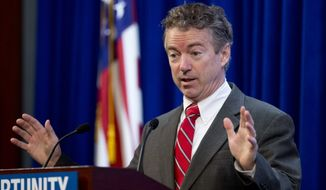 Sen. Rand Paul, R-Ky., speaks at the Heritage Foundation's Conservative Policy Summit in Washington, Tuesday, Jan. 13, 2015. (AP Photo/Manuel Balce Ceneta)