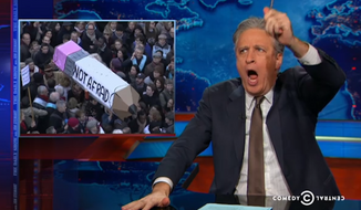 """Jon Stewart announced Tuesday that he is stepping down as host of """"The Daily Show."""" (Comedy Central via Real Clear Politics)"""