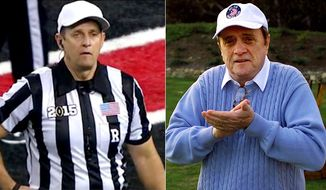 Actor Bob Newhart, (right) and NCAA football referee Greg Burks.
