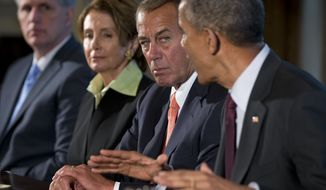 President Barack Obama, accompanied by, from left, House Majority Leader Kevin McCarthy of Calif., House Minority Leader Nancy Pelosi of Calif., and House Speaker John Boehner of Ohio, speaks to media during a meeting with bipartisan, bicameral leadership of Congress to discuss a wide range of issues, Tuesday, Jan. 13, 2015, in the Cabinet Room of the White House in Washington. (AP Photo/Carolyn Kaster)