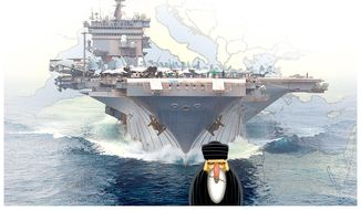 Illustration on deploying U. S. Aircraft carriers to the Mediterranean Sea by Alexander Hunter/The Washington times