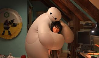 "This image released by Disney shows animated characters Hiro Hamada, voiced by Ryan Potter, right, and Baymax, voiced by Scott Adsit, in a scene from ""Big Hero 6.""  The film was nominated for an Oscar Award for best animated feature on Thursday, Jan. 15, 2015. (AP Photo/Disney)"