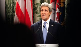 U.S. Secretary of State John Kerry makes a speech at the Paris city hall, Friday, Jan. 16, 2015. Kerry is meeting top officials in France to express America's solidarity with the French people after last week's deadly terrorist attacks. (AP Photo/Thibault Camus)