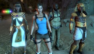 Lara Corft gets help from Isis, Horus and her rival Carter Bell to stop a ressurected Egyptian god from enslaving humanity in the video game Lara Croft and the Temple of Osiris.