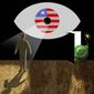 Illustration on excessive government surveillance and national security by Alexander Hunter/The Washington Times