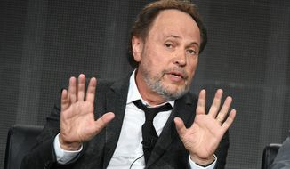 "Billy Crystal speaks on stage during the ""The Comedians"" panel at the FX 2015 Winter TCA on Sunday, Jan. 18, 2015, in Pasadena, Calif. (Photo by Richard Shotwell/Invision/AP)"