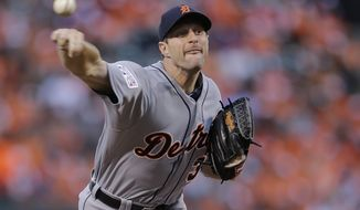 Detroit Tigers starting pitcher Max Scherzer throws in the second inning against the Baltimore Orioles during Game 1 of baseball's AL Division Series in Baltimore, Thursday, Oct. 2, 2014. (AP Photo/Patrick Semansky)