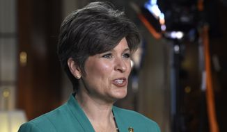 Sen. Joni Ernst, Iowa Republican, rehearses her remarks for the Republican response to President Obama's State of the Union address, Tuesday, Jan. 20, 2015, on Capitol Hill in Washington. (AP Photo/Susan Walsh)