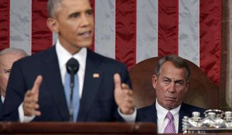 President Barack Obama delivers his State of the Union address to a joint session of Congress on Capitol Hill on Tuesday, Jan. 20, 2015, in Washington, as  House Speaker John Boehner of Ohio, listens in the background. (AP Photo/Mandel Ngan, Pool)