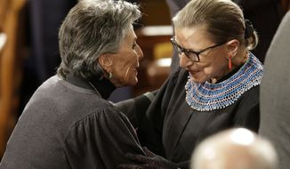 Sen. Barbara Boxer, D-Calif., greets Supreme Court Justice Ruth Bader Ginsburg on Capitol Hill in Washington, Tuesday, Jan. 20, 2015, before President Barack Obama's State of the Union address before a joint session of Congress. (AP Photo/Jacquelyn Martin)