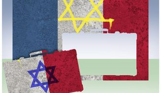 Illustration on the impact of anti-Semitism on France by Alexander Hunter/The Washington Times