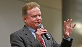 Former U.S. Sen. Jim Webb, D-Va., gestures during a talk at the AP Day at the Capitol in Richmond, Va., Wednesday, Dec. 3, 2014.  Webb has formed an exploratory committee to look into his running for the Democratic nomination for president in 2016. (AP Photo/Steve Helber) ** FILE **