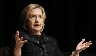 Former U.S. Secretary of State Hillary Rodham Clinton speaks at a Winnipeg Chamber of Commerce luncheon in Winnipeg, Manitoba, Wednesday, Jan. 21, 2015. (AP Photo/The Canadian Press, John Woods) ** FILE **