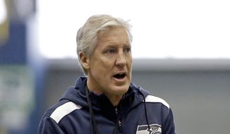Seattle Seahawks head coach Pete Carroll walks in practice Wednesday, Jan. 21, 2015, in Renton, Wash. The Seahawks play the New England Patriots in the Super Bowl Feb. 1 in Glendale, Ariz. (AP Photo/Elaine Thompson)
