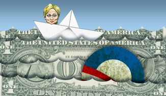 Illustration on Hillary Clinton's campaign hopes benefiting from a bad Obama economy by Alexander Hunter/The Washington Times