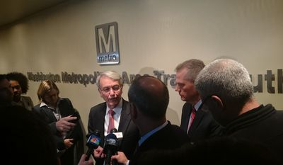 Jack Requa, Metro's interim general manager, addresses reporters after the transit agency's Jan. 22 safety board meeting in D.C. (Andrea Noble/The Washington Times)