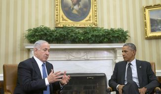 President Obama meets with Israeli Prime Minister Benjamin Netanyahu in the Oval Office of the White House on Oct. 1, 2014. (Associated Press) **FILE**