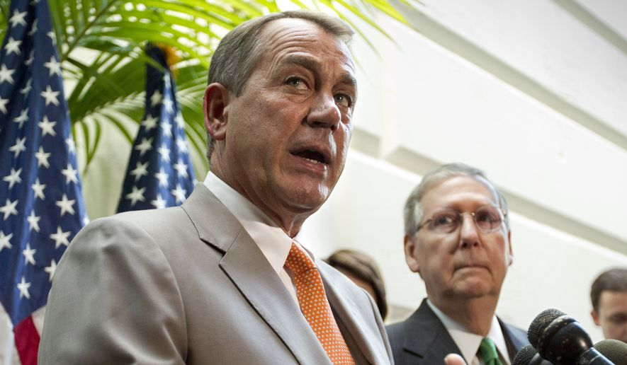 The conservative core of the Republican Party has long been leery of John Boehner and Mitch McConnell, who are viewed derisively as establishment stalwarts. (Associated Press)