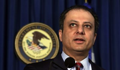 """""""More than two decades after the presumptive end of the Cold War, Russian spies continue to seek to operate in our midst under cover of secrecy,"""" said Preet Bharara, U.S. attorney for the Southern District of New York. (Associated Press)"""