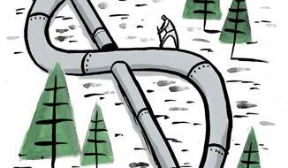 Illustration on the Keystone pipeline by Mark Weber/Tribune Content Agency