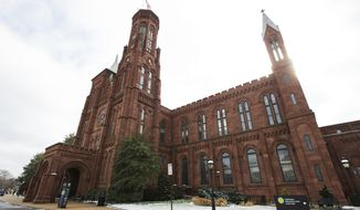 史密森学会's Smithsonian Castle is seen at the 国家广场 in Washington, Tuesday, Jan. 27, 2015. 史密森学会 is working to establish its first international museum outpost in London as the city redevelops its Olympic park. (AP Photo/Manuel Balce Ceneta)