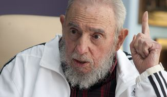 """I don't trust the policy of the United States, nor have I exchanged a word with them, but this does not mean I reject a pacific solution to the conflicts,"" Fidel Castro wrote in a letter to a student federation read at the University of Havana. It also appeared in Communist Party newspaper Granma. (Associated Press)"