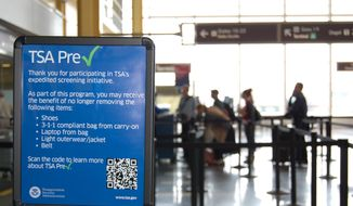 This undated image released by the Transportation Security Administration shows a sign promoting the TSA PreCheck program at at Reagan National Airport in Washington. (AP Photo/TSA) ** FILE **