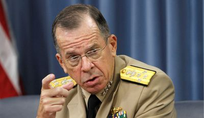 Wary: Adm. Mike Mullen, chairman of the Joint Chiefs of Staff, strongly opposed the recommended use of force against Gadhafi.