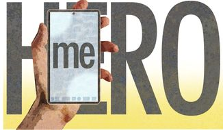 Illustration on heroism replaced by narcissism by Alexander Hunter/The Washington Times
