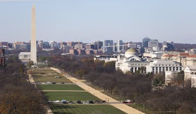 The National Mall with the Lincoln Memorial, and Washington Monument are seen from the roof of the U.S. Capitol Building in Washington in this Tuesday, Nov. 18, 2014, file photo. (AP Photo/Carolyn Kaster) ** FILE **