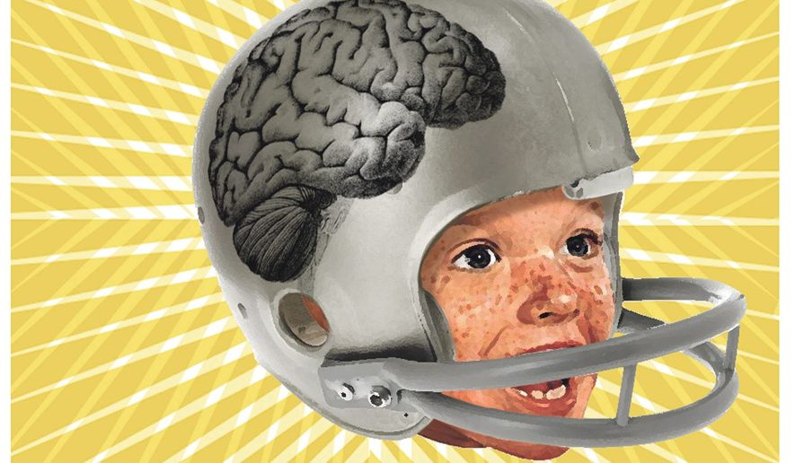 Illustration on the childhood risks in contact sports by Alexander Hunter/The Washington Times