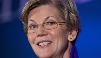In this Nov. 19, 2014 file photo, Sen. Elizabeth Warren, D-Mass. speaks to the Center for American Progress's Second Annual Policy Conference in Washington. (AP Photo/Manuel Balce Ceneta)