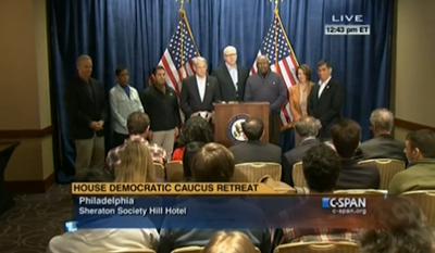 New York Times reporter Jeremy Peters asked Democratic lawmakers on Friday why the press at the House Democratic Caucus Retreat in Philadelphia was being so closely monitored by security, with some journalists even being followed to the bathroom. (C-SPAN via Mediaite)