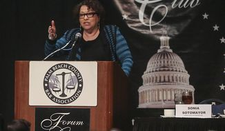 U.S. Supreme Court Justice Sonia Sotomayor addresses a joint meeting of the Forum Club and Palm Beach Bar Association Feb. 2, 2015. She downplayed hopes for in-court cameras of the upcoming gay marriage arguments. (AP Photo/The Palm Beach Post, Damon Higgins)