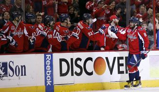 Washington Capitals left wing Alex Ovechkin (8), from Russia, celebrates his goal in the second period of an NHL hockey game against the St. Louis Blues, Sunday, Feb. 1, 2015, in Washington. (AP Photo/Alex Brandon)