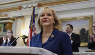 Oklahoma Gov. Mary Fallin smiles before delivering the State of the State address in Oklahoma City, Monday, Feb. 2, 2015. (AP Photo/Alonzo Adams) ** FILE **