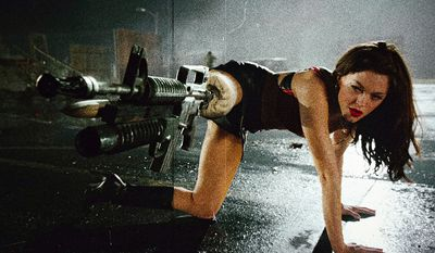 Cherry Darling (Rose McGowan in the movie Planet Terror) rocked a special prosthetic leg incorporating a Bushmaster carbine machine gun fitted with a M203 Cobray 37mm grenade launcher. Nuff said.