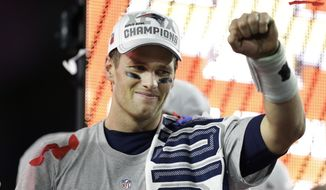 New England Patriots quarterback Tom Brady (12) celebrates after the NFL Super Bowl XLIX football game against the Seattle Seahawks Sunday, Feb. 1, 2015, in Glendale, Ariz. The Patriots won the game 28-24.(AP Photo/Ben Margot)