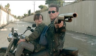 Another Schwarzenegger weapon on this list - The T800's Shotgun (Terminator 2: Judgment Day) A sawn-off, 12 gauge, lever-action M1887 Winchester shotgun. ** FILE **