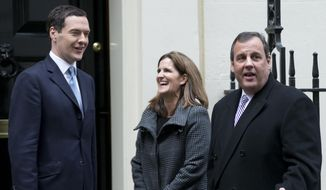 New Jersey Gov. Chris Christie, right, with his wife Mary Pat are greeted by Britain's Chancellor of the Exchequer George Osborne outside No 11 Downing street, the Chancellors official residence, as they arrive for lunch, in London, Tuesday, Feb. 3, 2015. (AP Photo/Alastair Grant) ** FILE **