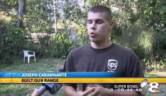 Residents of a St. Petersburg, Florida, neighborhood are outraged after 21-year-old Joseph Carannante built a legal homemade gun range in his front yard. (WFLA 8)
