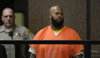 """Marion """"Suge"""" Knight appears in court during his arraignment , Tuesday, Feb. 3, 2015 in Compton, Calif.  Knight, 49,  pleaded not guilty on to murder, attempted murder and other charges filed after he struck two men with his truck last week. (AP Photo/Paul Buck, Pool)"""
