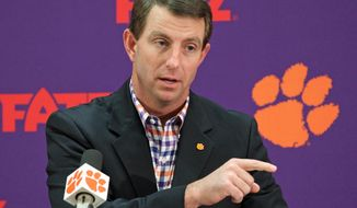 Clemson head football coach Dabo Swinney talks about the 2015 recruiting class during a news conference, Wednesday, Feb. 4, 2015 in Clemson, S.C. (AP Photo/Anderson Independent-Mail, Mark Crammer) ** FILE **