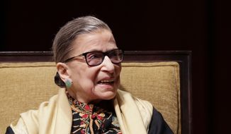 Supreme Court Justice Ruth Bader Ginsburg is interviewed at the University of Michigan in Ann Arbor, Mich., Friday, Feb. 6, 2015. (AP Photo/Carlos Osorio)