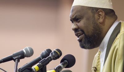 Imam Mohamed Magid, executive director of the All Dulles Area Muslim Society (ADAMS), speaks at a gathering of Washington-area Muslims at ADAMS, a suburban mosque in Sterling, Va., on Feb. 24, 2012. (Associated Press) **FILE**