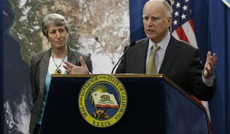 Gov. Jerry Brown responds to a question concerning the announcement by U.S. Secretary of the Interior Sally Jewell, left, that the federal government is offering up to $50 million for drought relief in western states during a news conference at the Capitol in Sacramento, Calif., Friday,  Feb. 6, 2015.  The additional funding includes about $20 million for California's Central Valley Water Project for efforts such as water transfers, drought monitoring for endangered species and diversifying water supplies.(AP Photo/Rich Pedroncelli)