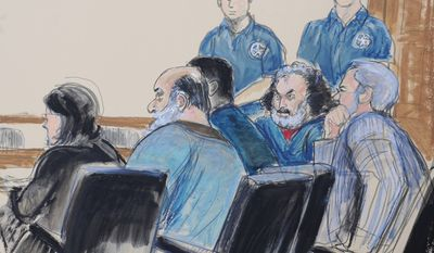 "FILE - In this Oct. 6, 2012 courtroom drawing, seated from left, defense attorney Sabrina Shroff, defendants Kahlid al-Fawwaz and Adel Abdul Bary and attorney Andrew Patel appear before a judge in Manhattan federal court in New York. Adel Abdul Bary, 54, an Egyptian lawyer who pleaded guilty to conspiring to kill Americans in the 1998 U.S. embassy bombings in Africa was sentenced Friday, Feb. 6, 2015 to the maximum 25 years in prison by a judge who decried the ""horror in this world."" (AP Photo/Elizabeth Williams)"