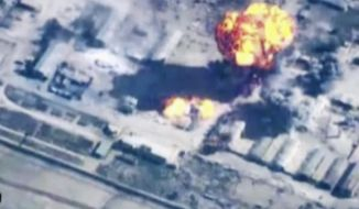 In this image made from undated video provided by Jordanian military via Jordan TV, explosions go off as the military carried out airstrikes at an undisclosed location in Syria. The military carried out airstrikes on Islamic State weapons depots and training sites on Thursday and Friday. King Abdullah II has thrust Jordan to the center of the war against the Islamic State group with his pledge of relentless retaliation for the killing of one of his pilots. (AP Photo/Jordanian military via Jordan TV)