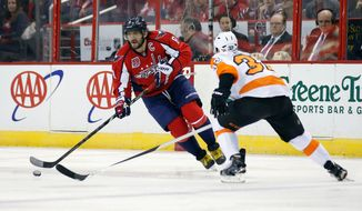 Capitals left wing Alex Ovechkin, who took part in All-Star Game festivities and was not granted the five-day break, was the only player permitted to take Monday off. (Associated Press)
